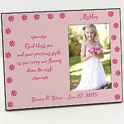 Personalized Pink Flower Girl Picture Frame