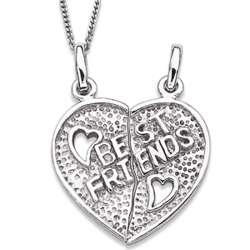 Sterling Silver Best Friends Breakable Heart Necklace