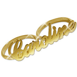 14 Karat Gold 2 Finger Name Ring