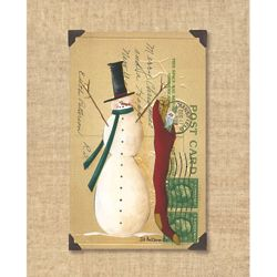 Snowman Postcard Christmas Art Print