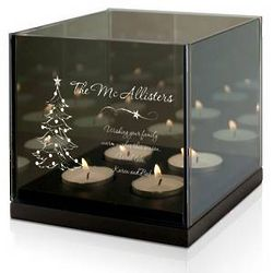 Christmas Greetings Personalized Quad Tea Light Candle Holder
