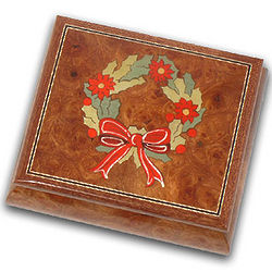 Inlaid Christmas Wreath Wood Music Jewelry Box