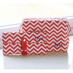 Chevron Spa Bag and Makeup Roll Brush Set