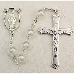 Deluxe Pewter White Pearlized Rosary
