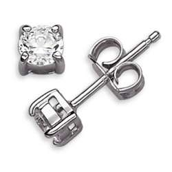 Sterling Silver 4mm Round Cubic Zirconia Stud Earrings