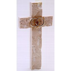 Gold Bands Wedding or Anniversary Jerusalem Stone Wall Cross