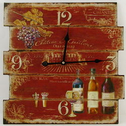 Grapes and Wine Weathered Wall Clock