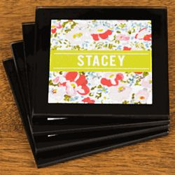 Personalized Floral Coaster Set