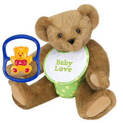 Green Baby Shower Teddy Bear with Rattle