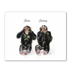 Monkey See, Monkey Do II Personalized Art Print