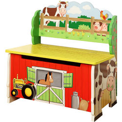 Happy Farm Kid's Wooden Storage Bench