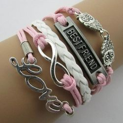Pink and White Wax Cord Multistrand Best Friend Bracelet