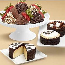 Cheesecake Trio and Half Dozen Chocolate Strawberries