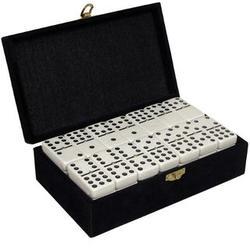 Double Nine White Tournament Dominoes in a Velvet Case