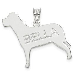 Personalized 14 Karat White Gold Dog Pendant