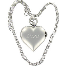 Personalized Silver Heart Locket Necklace with Watch
