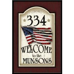 Personalized Patriotic Wood Address Welcome Sign