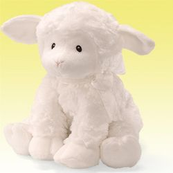 Musical Plush Lamb with Cross Ribbon