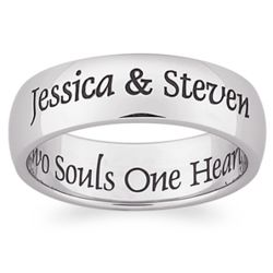Stainless Steel Laser Top-Engraved Two Souls Band
