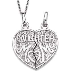 Sterling Silver Mother and Daughter Breakable Heart Necklace