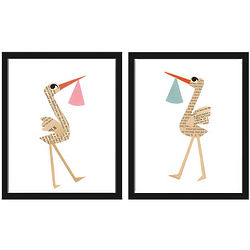 Stork with Baby Bundle Framed Art