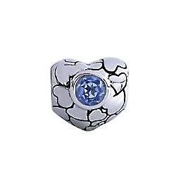 Swiss Blue Topaz and Hearts Charm