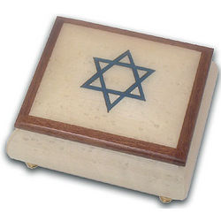 Star of David White Music Box with Wooden Trim