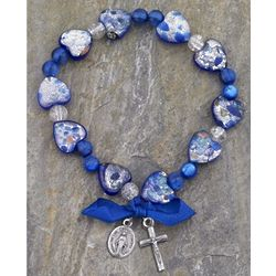 Speckled Murano Glass Blue Heart Rosary Bracelet with Blue Ribbon