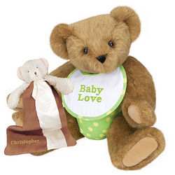 Green Baby Shower Teddy Bear with Buddy Blanket