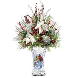 Winter Cardinals Illuminated Always In Bloom Floral Centerpiece
