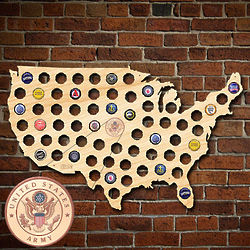 US Army Beer Cap Map of America