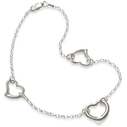 Three Heart Anklet in Sterling