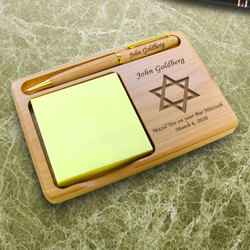 Personalized Star of David Wooden Notepad & Pen Holder