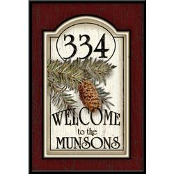 Personalized Pinecone Address Welcome Plaque
