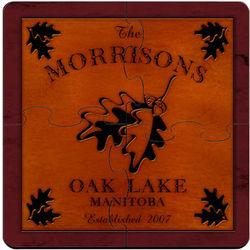 Personalized Vintage White Oak Cabin Coaster Puzzle
