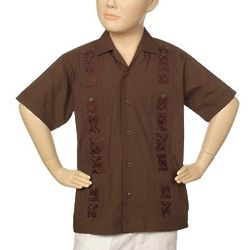 Boy's Embroidered Chocolate Guayabera Shirt