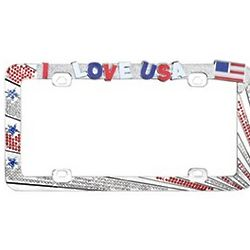 I Love USA License Plate Frame