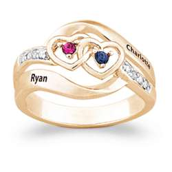 14K Gold Plated Couple's Names and Birthstones Heart Ring
