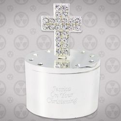 Personalized Diamante Cross Trinket Box