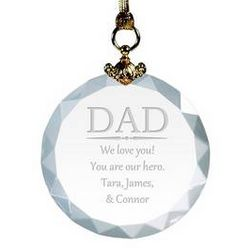 Personalized Crystal Christmas Ornament for Dad