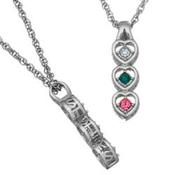 Platinum Plated Sisters Three Birthstone Necklace