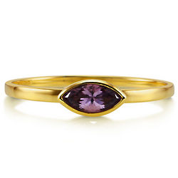 Marquise Amethyst 10K Yellow Gold Ring