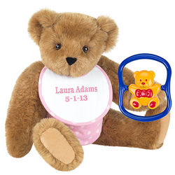 Baby Girl Teddy Bear with Rattle