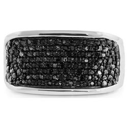 Men's Black Diamond Ring in Sterling Silver