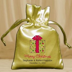 Personalized Small Satin Drawstring Holiday Favor Bags