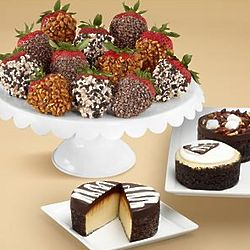 Cheesecake Trio and Chocolate Covered Strawberries