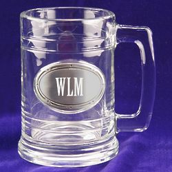 Pewter Personalized Plate Glass Pint Mug