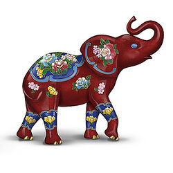 Elephant Figurine with Cloisonne-Inspired Designs