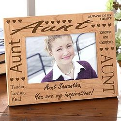 Engraved Wood Personalized Aunt Picture Frame