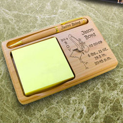 Personalized Birth Announcement Wooden Notepad & Pen Holder